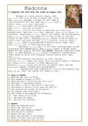 English Worksheet: Madonna