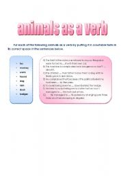 English Worksheets: Animals as verbs
