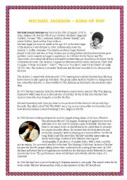 English Worksheet: Michael Jackson�s biography