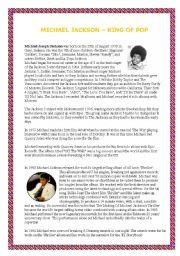English Worksheets: Michael Jackson�s biography