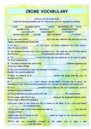 English Worksheets: CRIME VOCABULARY