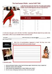 English Worksheet: the devil wears Prada part two