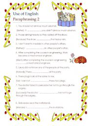 English Worksheets: Use of English paraphrasing and word formation