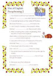 English Worksheet: Use of English paraphrasing and word formation