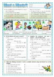 English Worksheet: Must & Mustn´t