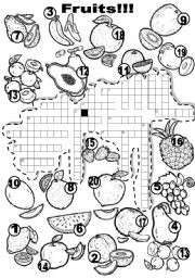 English Worksheet: FRUITS CRISS - CROSS PUZZLE