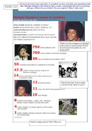 English Worksheets: Michael Jackson�s career figures and facts