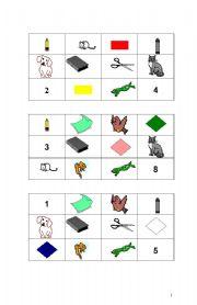 English worksheet: Bingo Game Colours-Animals-Classroom Objects