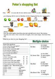 English Worksheet: Peter�s shopping list