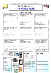 English Worksheet: Let�s talk about ADVERTISING