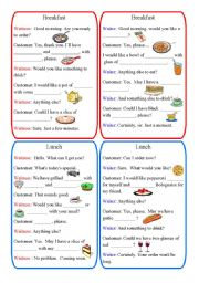 English Worksheet: Restaurant Dialogues: breakfast, lunch, dinner and fast food (8 dialogues)