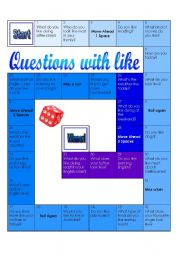 English Worksheets: Questions with like_Board Game