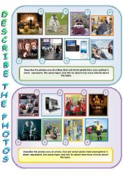English Worksheet: Describe and compare the photos - speaking activity for intermediate+ Ss