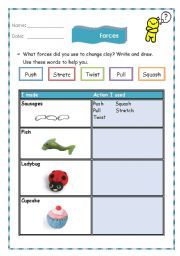 English Worksheets: forces