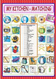 English Worksheet: MY KITCHEN - MATCHING EXERCISE