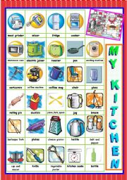 English Worksheet: MY KITCHEN - PICTURE DICTIONARY