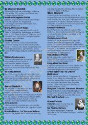 English Worksheets: Famous Britons