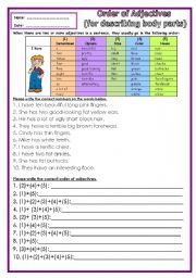 English Worksheets: Order of Adj (describing body parts) Part 2 ***