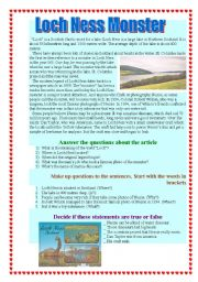 English Worksheet: Loch Ness Monster
