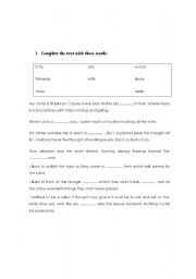 English Worksheet: cloze text about robinson crusoe