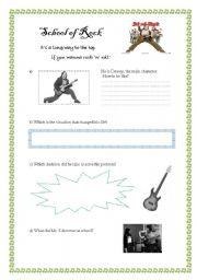 ESL worksheets for beginners: School of Rock activities