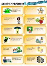 English Worksheets: Adjective+Preposition Part 6: Memo Cards (related TO, addicted TO, curious ABOUT, etc.)