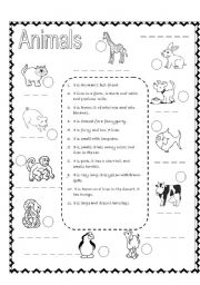 English Worksheets: Animals� descriptions