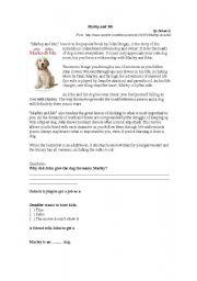 marley and me worksheets rh eslprintables com Marley and Me Ending Marley and Me Dog Dies