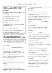 English Worksheet: The Devil Wears Prada Movie Activity