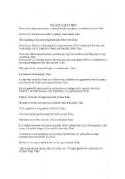 English Worksheets: Plato Quotes