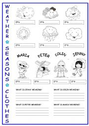 worksheet: TEST ON WEATHER AND SEASONS