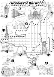 English Worksheet: WONDERS OF THE WORLD CRISS - CROSS PUZZLE