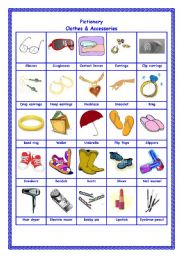 English Worksheet: Pictionary - Clothes & Accessories 2/2