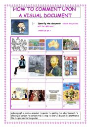 English Worksheets: HOW TO COMMENT UPON A VISUAL DOCUMENT