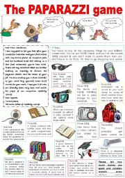 English Worksheet: PAPARAZZI!!! WATCH OUT, THEY�RE EVERYWHERE!!! (GAME FOR STUDENTS, INTRODUCTORY PART)