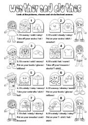 English Worksheet: Weather & clothes + imperatives