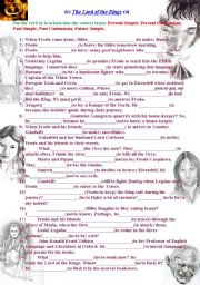 English Worksheet: The Lord of the Rings. Revising Tenses: Present Simple, Present Continuous, Past Simple, Past Continuous, Future Simple