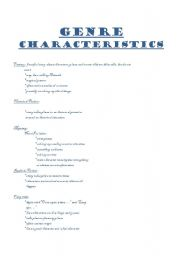 English Worksheets: Break down of genre characteristics.