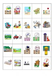 English Worksheets: Places Memory Game