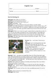 English Worksheet: English Test: Sports