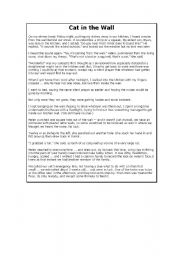 English worksheet: Reading Comprehension - Cat in the Wall, Near Miss with a Train