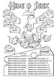English Worksheet: Hide & Seek (prep. place)
