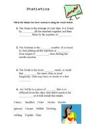 English Worksheets: Mean Medium  and Mode