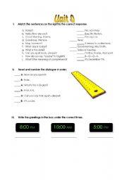 English Worksheets: Quizz Unit 0 ESL