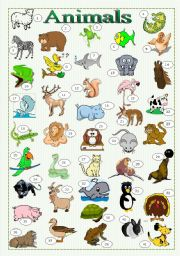 Animals - pictionary + writing + conversation ((3 pages))