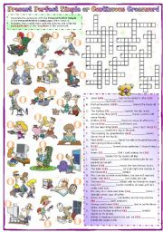 English Worksheet: Present perfect simple or continuous Crossword