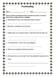 English Worksheet: Proofreading Worksheet