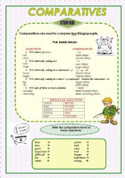 English Worksheets: COMPARATIVES (grammar guide and practice) 2 pages