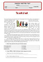 English Worksheets: Test - The world of work