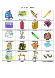 Vocabulary worksheets > School > Vocabulary: School Items
